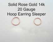 ROSE Gold 14k solid, not plated or filled Hoop Earring 20 ga Cartilage Tragus Helix Nose Ring Small Tiny Catchless Seamless Little Sleeper