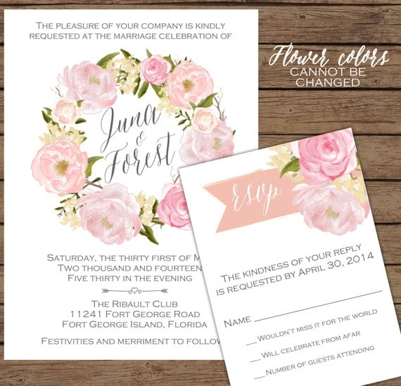 Modern calligraphy watercolor floral by olivejuicestationery