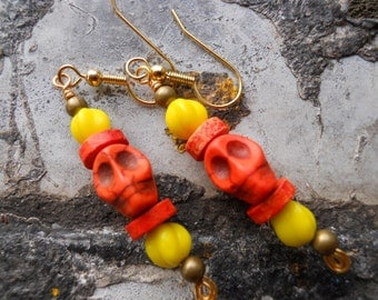 Halloween jewelry The Real Dia de Los Muertos yellow and orange skull dangle earrings, fun for Halloween