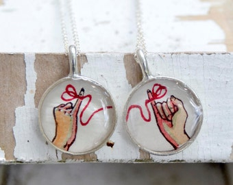 best friend necklace, friendship necklace, small, sterling silver chain, red string of fate, hand painted