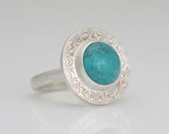 Turquoise ring, size 9 mokume gane and turquoise ring,  #557.