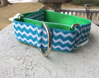 "Mudge's Teal Chevron 1.5"" Martingale Collar"