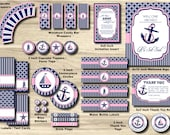 Nautical Birthday Party Package - Anchor Birthday Party Pack - Sailboat, Stripe Knot Chevron, pink, Navy - 1st PRINTABLE INSTANT Girl Sailor