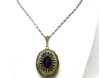 Green Crystals on Bronze w/Black Faceted Bead Pendant Necklace