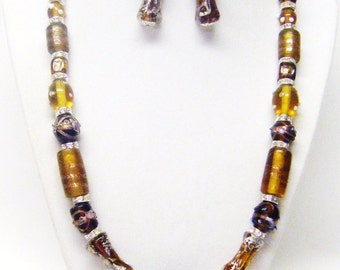 Brown Mixture Lamp Work Glass Beads Necklace & Earrings Set