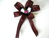 Small burgundy and white Valentine's Day bow/ Valentine Gift bow/ Gift wrap bow/ Valentine's Day decoration/ Bow for gifts  (V29)