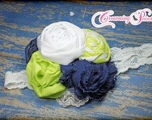 Blue, White, Neon Lime Green, Fabric Flower Headband, Navy, Chartreuse, Baby Girl Hair Bow, Headband, Baby Girl Hair Clip, Photo Prop
