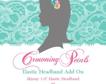 Elastic Headband Add-on, Skinny Elastic, Fold Over Elastic, Choose Your Color Elastic, Individual Headband, Extra Elastic Headband