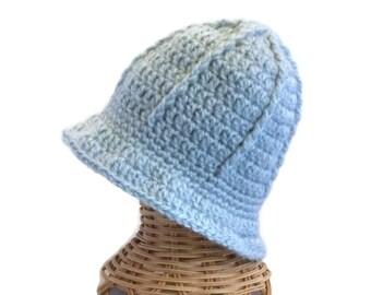 Light Blue Baby Hat, Baby Boy, Warm Hat, Size 3 to 12 Months