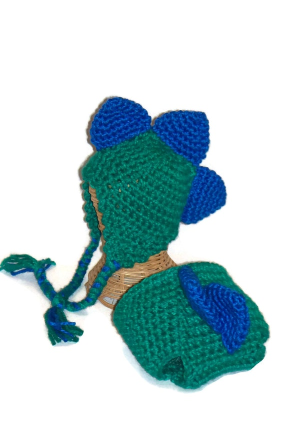 Infant Hat, Stegosaurus Hat and Diaper Cover, Baby Hat, Diaper Cover, Green, Blue, Photo Prop