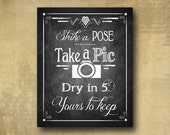 Printed Instant Camera - Take a pic, dry in 5 minutes Wedding sign - chalkboard signage - 3 sizes available with optional add ons