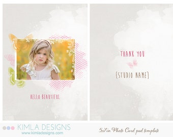 5x7inFlat Card, psd template, Butterfly Wish