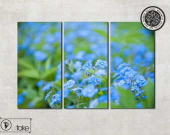 Blue Flowers nature on photo canvas, ready to hang canvas, Nature Photography, wall art