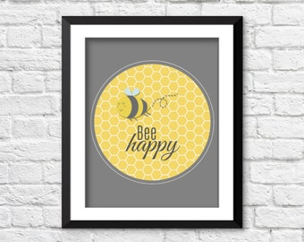 Bee Happy Nursery Art Typography Print Nature Boho Kids Childrens