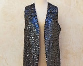 Vintage 70s - Black Sparkle Sequined Vest - Saks Fifth Avenue - 1970s Disco