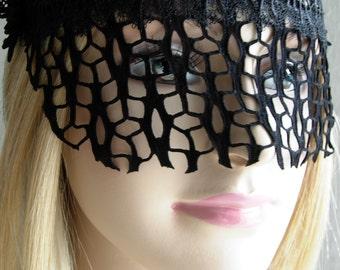 Black lace mask masquerade ball face mask headpiece burlesque -GITTERZIER- black