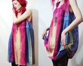 FULL LACE Babydoll Dress RAINBOW Hippie Boho vtg Vintage Bohemian Handmade ooak Ombre l xl