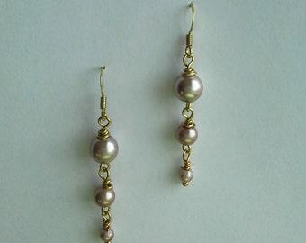 Swarovski pearl earrings, Champagne and gold tone
