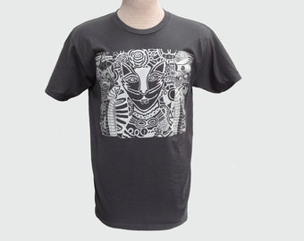 Cat with Two Fish Gray Short Sleeve T Shirt