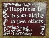 Hand-Painted canvas with Tolstoy quote