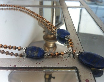 Bronze and Blue Beaded Necklace