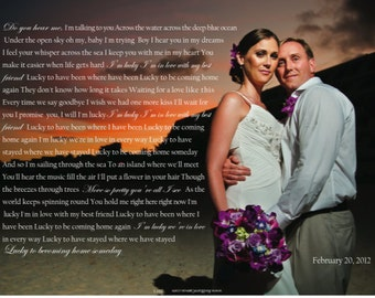 Photo Canvas with words, personalized Wedding gift, Canvas Photo Print, Your Photo with Your Words