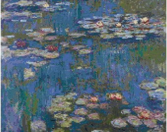 Claude Monet Water Lilies Counted Cross Stitch Pattern Chart PDF Download by Stitching Addiction