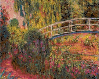 Claude Monet Water Lily Pond Counted Cross Stitch Pattern Chart PDF Download by Stitching Addiction