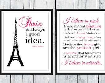 Paris is Always A Good Idea and I Love Pink set 2 11x14 Prints