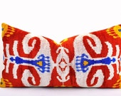 Red Velvet Ikat pillow cover Hand woven - Pure Silk.  Size - 15 x 24 inch  UK