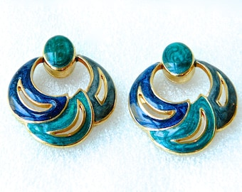 Vintage Earrings Gold Tone and Enamel MODERNE Lapis Blue & Turquoise Pierced Signed V