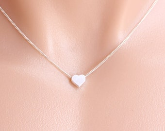 Heart Necklace. Sterling silver Heart Necklace, Small tiny Heart Necklace . Teen gift. Flower Girl . Simple Dainty Delicate Necklace