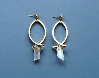 Double Bar Brass and Quartz Stud Earrings
