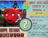 Tec the Tractor Birthday Invitation