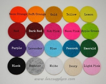 """Set of ONE HUNDRED - 1"""" Adhesive Felt Circles - YOUR Choice of Colors - Sticky Felt Circles for Baby Headbands"""