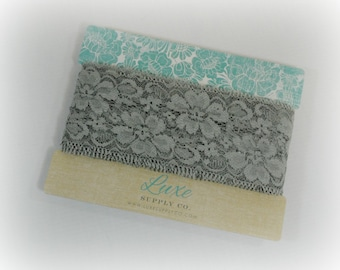 """Soft GREY Lace Elastic - 2.25"""" wide - 2  YARDS - Stretch lace trim for baby headbands"""