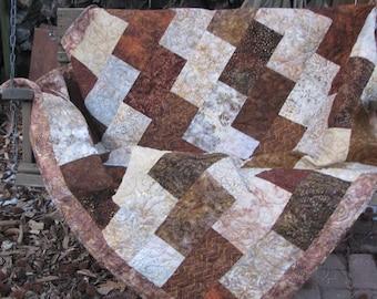 Lap Quilt, Sofa Quilt, Quilted Throw - Request Custom Order Brick Batik