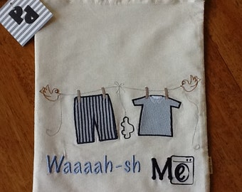 Baby's clothes bag -  Blue embroidery and light blue applications