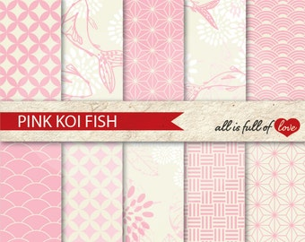 Baby Pink Digital Paper Pack JAPANESE Background Patterns Valentines Scrapbook Digital Paper Koi Fish Clipart Digital Graphics Pink Flower