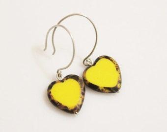 Glass Heart Earrings, Yellow Czech Glass Bead Earrings