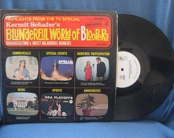 "Vintage, Kermit Schafer's - ""Blunderful World Of Bloopers"", Broadcasting's Most Hilarious Boners Vinyl LP Record Album, Marijuana Propaganda"