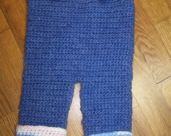 Vintage......hand knit baby romper.....Blue....Free shipping in US.....