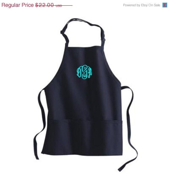 ON SALE Monogram Apron Personalized Womens Aprons 3 Pockets Great Gift. Many Colors To Choose From. - EMBROIDERED