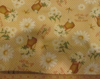"""Fabric floral 1 yard x 44"""" wide All things grow with love cotton Angela Anderson"""