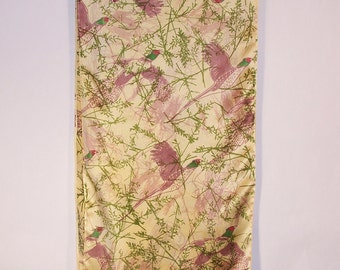 Hand Painted Silk Scarf, Pheasants on Gold with Wild Grasses