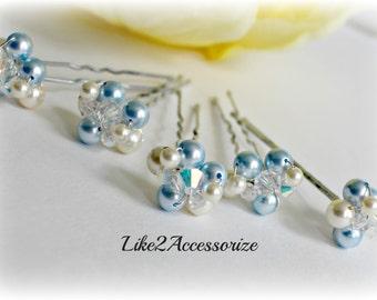 Something Blue Bridal Hair Pin Wedding Hair Accessories Gold Pearl Hair Clip Bridesmaid Hair Clip Ivory White Bridal Pearl Hair Pin Set of 5