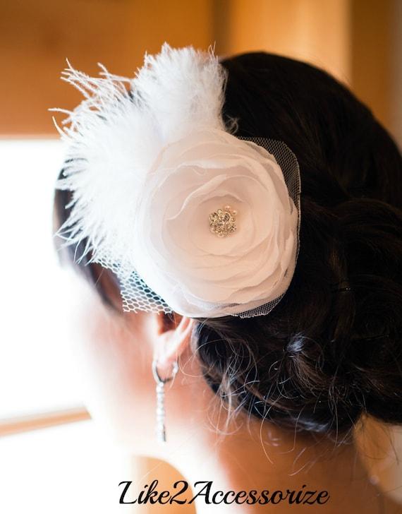 White Flower Clip Wedding Headpiece Bridal Hair Flower Bridal Fascinator Wedding Hair Accessories Bridal Headpiece Bridal Hair Accessories
