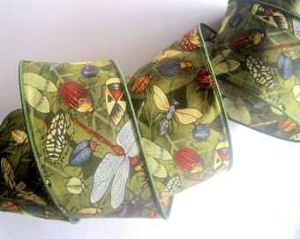 "Bugs Day Wide Wired Cotton Ribbon, Multi-Green, 2 1/2"" inch wide, 1 yard, For Home Decor, Gift Baskets, Victorian & Romantic Crafts"