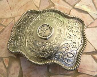 Silver Monogram Belt Buckle, Letter T Western Belt Buckle, Wax Seal Stamp, Groomsmen Gift, Bridesmaid Gift, Custom Monogrammed Belt Buckle