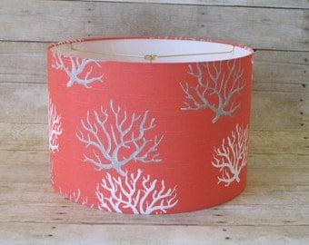 Lamp Shade Drum Lampshade Coral Gray Grey and White